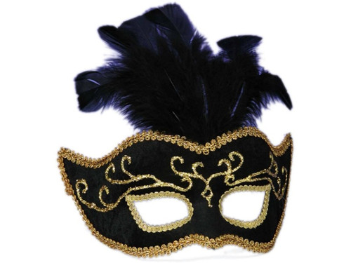 This half style mask is Black with Gold accents and feathers. The mask has an attached, rigid plastic, 'U' shaped headband which allows the mask to swivel down over the face or up over the head.
