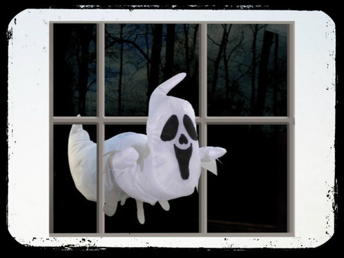 Your guests will smile and be mystified at the illusion of this 20-inch friendly ghost prop! The ghost is actually 2 pieces with 3 suction cups on each piece that will stick to any smooth surface. Place the pieces right in front of each other and it looks like the ghost just flew through the glass, door or whatever you choose! This cute ghost is a great friendly Halloween decoration!