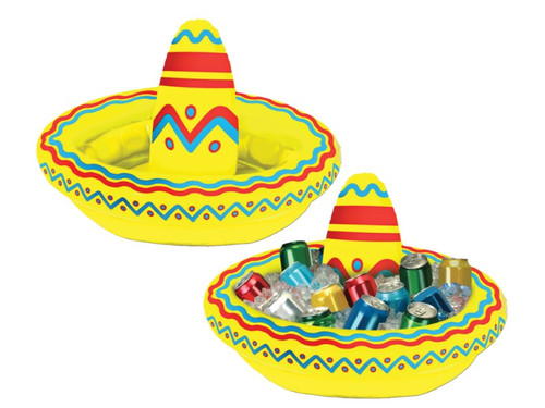 "One of the ""cooler"" ideas we've come up with! A colorful inflatable sombrero that also functions as a cooler for your favorite party beverages. Great for Cinco de Mayo or any summer party. Buy a few of these and scatter around your house for party fun! PVC. 18inW x 12inH. Holds approximately 10 12-Oz cans when inflated properly."