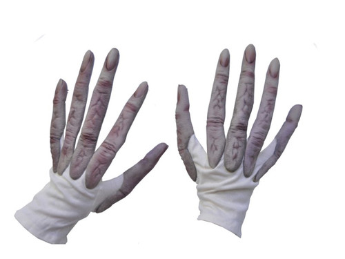 What a pair of Grey Long Finger Alien Hands! Fingerless looking cloth gloves with long alien latex fingers attached. Plenty of dexterity along with ease of wear and cool wearing design makes these some of the best alien hands available. One size fits most adults.
