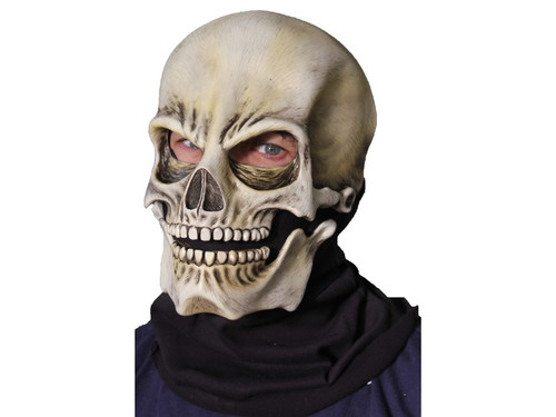 Realistic skull latex mask with moving jaw. One size fits most adults.