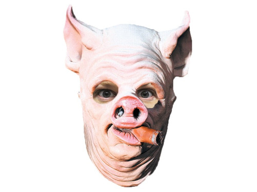 Pig face mask with big ears and nose with a cigar hanging out of the mouth.