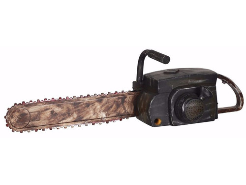 This Animated Chainsaw is a great prop to add to any horror costume!  Black chainsaw has a rusty-looking old blade. Plastic blade rotates and you hear realistic chainsaw sounds! Made of safe plastic. 29 inches long x 8 inches x 8 inches. includes 4 AA batteries.