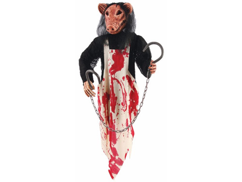 This 3 Foot Hanging Pig Butcher with bloody apron will scare them all!  Imagine seeing this in the dark! Perfect for your haunted house or home display. Pig's head and torso wearing a bloody apron while hand clutches two bloody butcher hooks with chain. 36 inches long.
