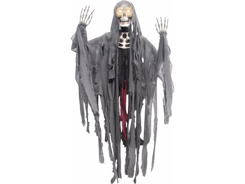 "This is one scary 6 Ft Hanging Skelton Reaper!  Plastic skeletal parts (arms are posable) with rotted, shredded look rags attached for a ghoulish deathly look. If this wasn't scary enough, this corpse has eyes that move back and forth! Creepy! Requires 3 AA batteries, not included. 60 x 60 x 8""."