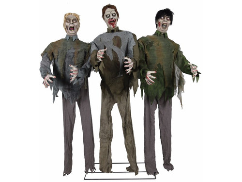 These zombies are ready to beat down your door as they approach your porch with this Animated Zombie Walkers prop!