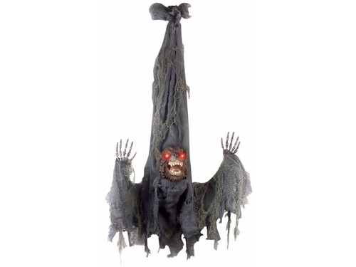 """This Animated Slashing Werewolf is ready to scare the scream out of everyone!  This hanging werewolf prop comes with lightup eyes and slashing hands. Requires 3 AA batteries not included. Sound activated. L36"""" x W31"""" x 9"""""""