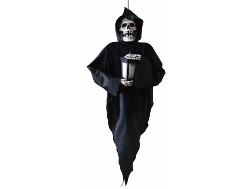 "The Animated Grim Reaper Door Hanging will guide you into the party - or to your doom! Measuring approximately 48"" tall and wearing a creepy black fabric robe, the Animated Grim Reaper Door Hanging features a hard plastic head with red LED eyes and hands holding a flickering lantern, and says a creepy greeting with each activation (""Ah, visitors. I have been waiting for you for a very long time.""). Features either motion-activation or steady-on, 3 AA batteries required (not included)."