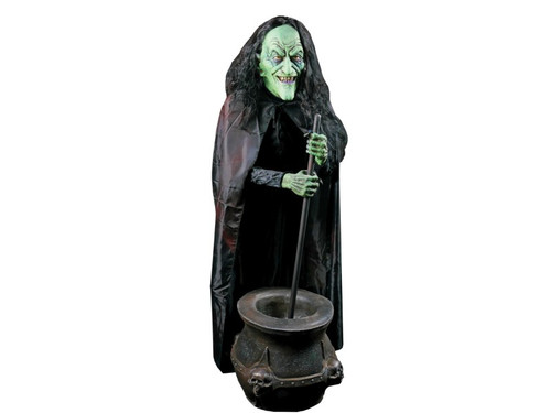 This Classic Witch stirs and stirs as she cackles and giggles to the bubbling brew sounds. Foam filled latex prop with heavy duty metal armature and motor. Includes foam filled latex cauldron, 5V 5 amp Power Supply and soundtrack CD. Requires AC power. Lifesize upper torso. Costume may vary. Boxed dims: 48x16x16.
