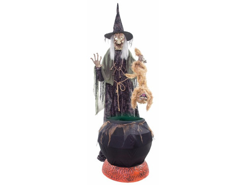 """Create an extra spooky ambiance with your Halloween decor by adding this animated witch with fog machine! This sinister sorceress stands before her bubbling black cauldron with flickering """"smoldering coals"""" while holding a mangy cat by the feet. Once activated the witches eyes light up, head and torso turn from side-to-side, mouth moves, cat hisses and fails over the green bubbling cauldron. Includes 400W Fog Machine and hose attachment for added ambiance! Prop will say one of three sayings with each activation: """"(evil laughter)""""; """"Eh heh heh heh you will make a tasty meal - my favorite is the flesh from a black cat, but you will do nicely! Eh heheheheh!""""; """"See what happens when you cross my path? Let this be a lesson to you - and a meal for me! Eh heheheh!"""" Easy to assemble with quick-connect poles and includes volume control. Activation options: steady-on, Step-Here pad, and infra-red sensor (works up to 6.5 feet away and works in all lighting conditions). Standard UL power adapter. Fog liquid not included. 80""""H x 40""""W x 45""""D, animation right to left 36""""."""