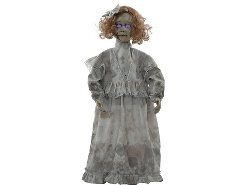 This Animated Cracked Victorian Doll will catch the attention of everyone who crosses her path.  She is the perfect addition to any haunted house or horror-themed party! Standing at 32in tall, the hollowed-out eyes of this static dreadful doll prop will glow an eerie blue as she says one of five phrases with each activation of her motion/light sensor such as -(Giggle) I just was thinking how funny you would look without eyes, too.- Sally was mean to me, once. Now...she'll never be mean again (giggle).- Ring around the rosy, pocket full of posies, ashes, ashes we all fall down.- Hello there.(giggle), I see you. Features easy quick-connect push-button assembly and posable arms. Requires 3 AAA batteries (not included).