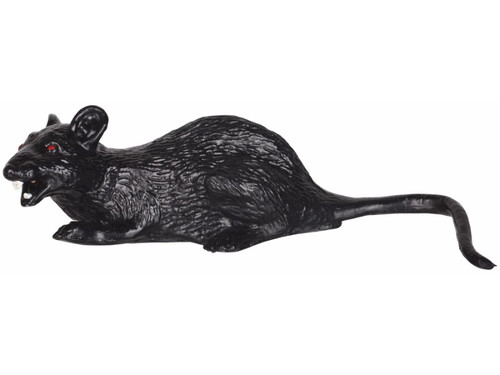 Black vinyl rat with red eyes. Equipped with a bump & go mechanism built right in. When the rat bumps into something it turns and goes the other way. On/off switch. Requires 3 AA batteries. 12 inches long from nose to tip of tail.