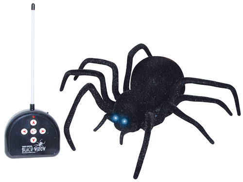 Remote Control Black Spider. Nothing scares the yell out of someone more than a spider that turns around and follows them. This remote control spider has endless fear-making possibilities! Remote Control Spider Black takes 4 x AA batteries and the remote takes 1 x 9 volt.