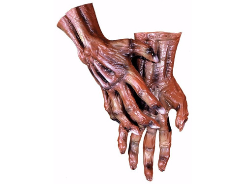 Get your monster hands on with these realistic that are very popular.  Accommodates large hands.  Perfect to complete that scary costume!  Choose:  Corpse  Witch  Flesh  White Skeleton  Black Skeleton  Grey Werewolf  Brown Werewolf  Devil  Gorilla