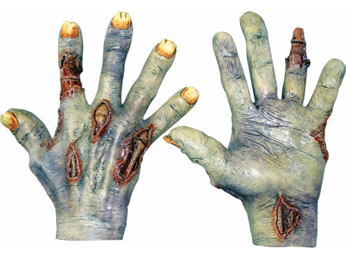 Don't let these zombie hands & feet get a hold of you!  All latex hands and feet are individually hand painted for the most realistic look possible.  Add these to your existing costume or mask to complete the look that will scare the neighborhood. Assorted. One size fits most adult hands.