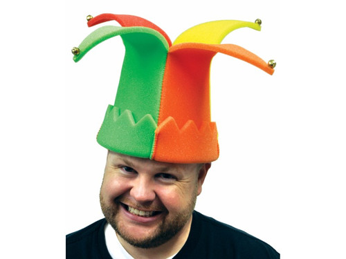 New 2017. Foam Jester Hat. Bright yellow, purple, red, and green foam jester hat with bells attached. One size.
