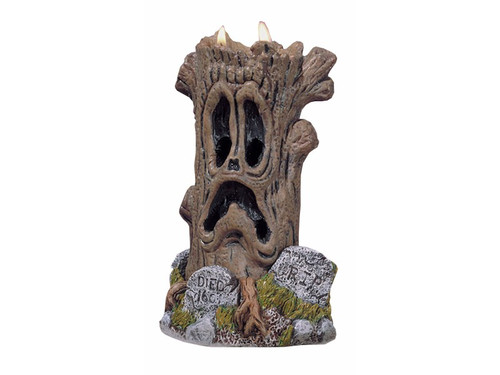 Amazing!  A haunted tree candle holds a hidden horror inside! As melting horror tree wax oozes and drips down, the SCREAM Stalker is revealed inch by inch. The remains become a horrible ONE OF A KIND EACH TIME decoration!  A must have for any Halloween Collector.  Use when ready to excite a crowd!