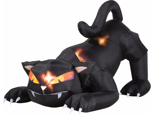 If you're looking for something to set your Halloween yard decorations apart, this animated inflatable cat will do the trick! The light up black cat sits crouched and ready to pounce, as its head turns side to side. Prop is an impressive 6 feet in length and over 4 feet high and includes everything needed for a quick and easy setup and break down. Simply plug into a standard outlet and the cat self-inflates in seconds and deflates for easy storage.