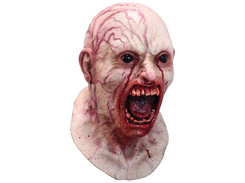 The infection is taking over and it doesn't look good! This shocking mask will leave a startling impression wherever you go. The full-face, over-the-head mask with neck piece is crafted from high-quality latex and depicts a bald man with bulging veins spreading from the infectious wound on his neck. His face is frozen in agony, with black, foreboding eyes and a screaming mouth covered in blood.