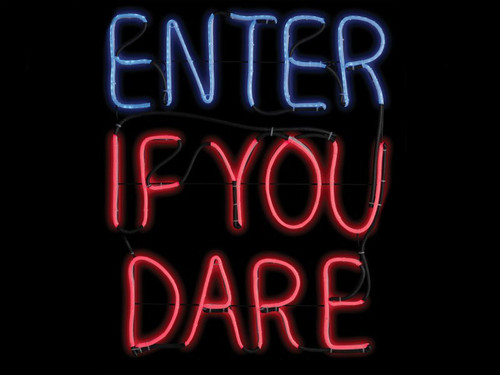 Neon Window Signs For Halloween Enter If You Dare