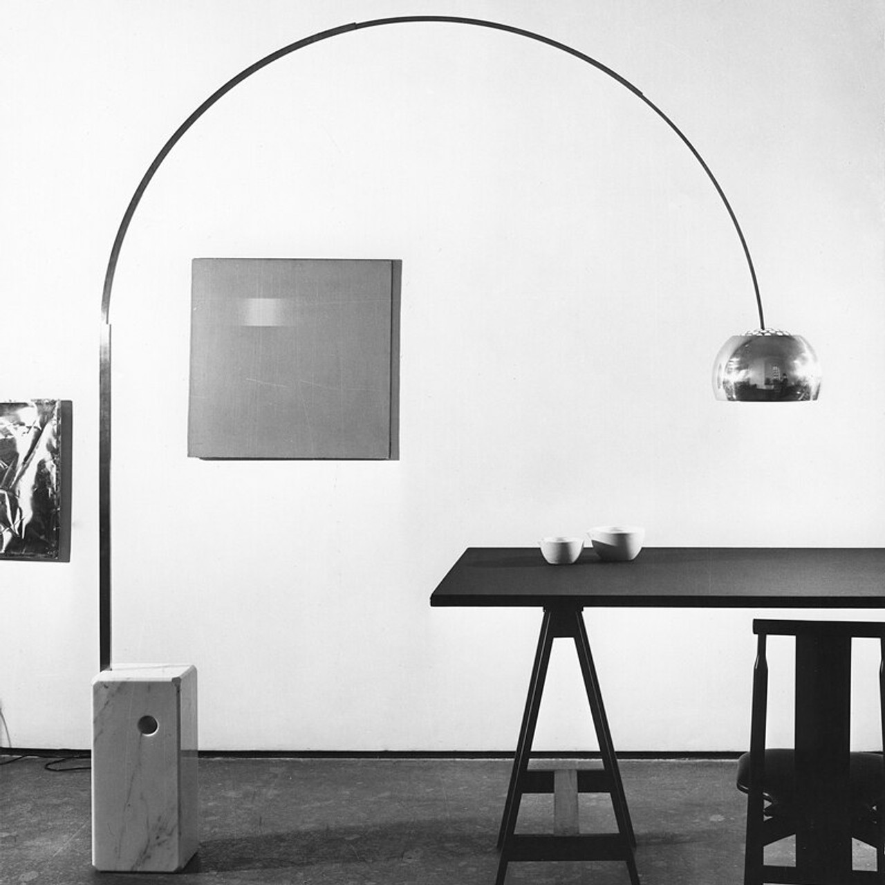 arco floor lamp 1960 39 s series by achille castiglioni flos usa. Black Bedroom Furniture Sets. Home Design Ideas