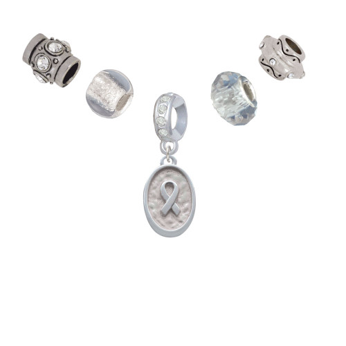 Awareness Ribbon - Oval Seal Silver Tone Charm Bead Set (5 pieces)