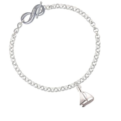 Antiqued Sailboat To Infinity Custom Engraved Toggle Bracelet