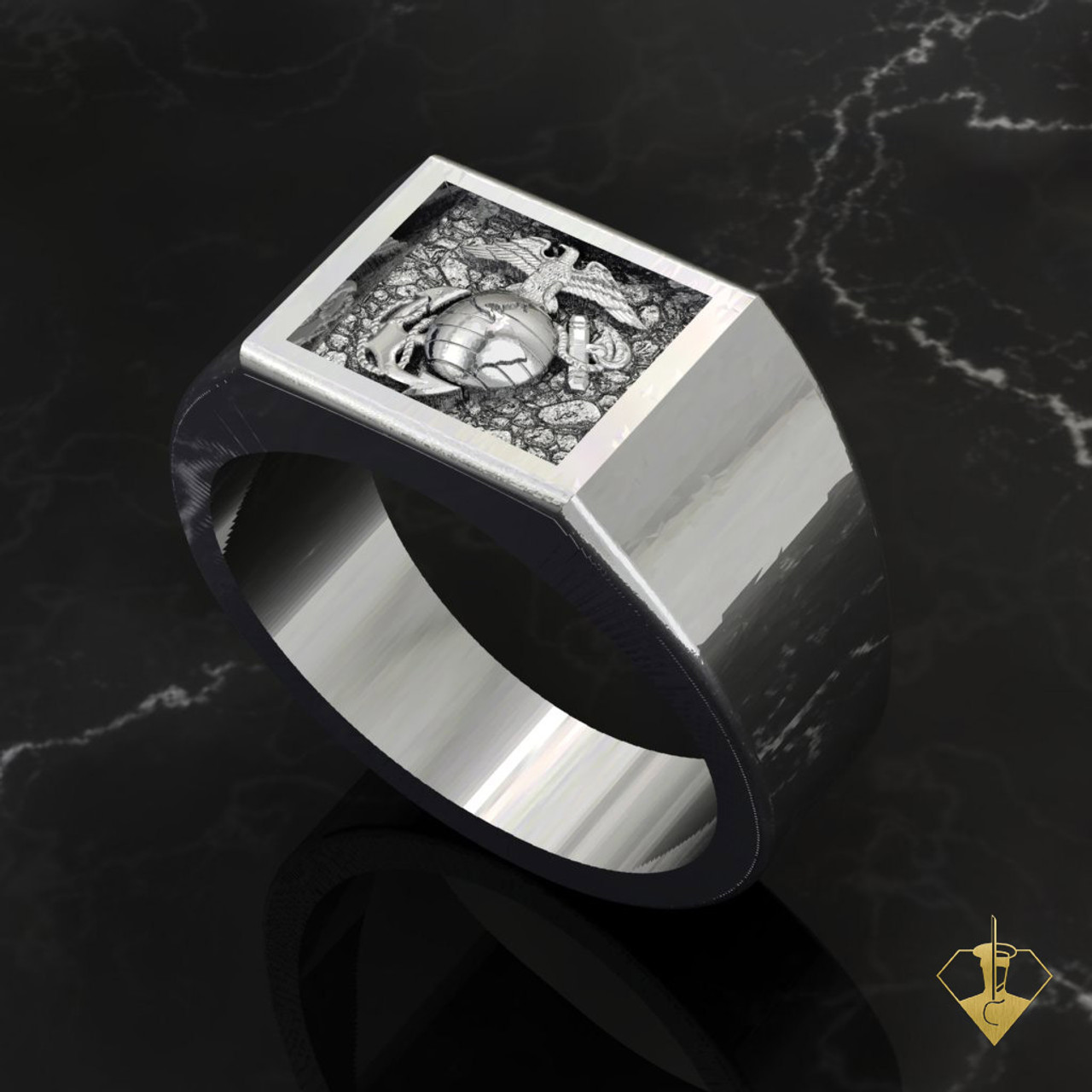 """EGA Signet Ring   """"Made by Marines for Marines"""" available in Sterling Silver, 10k, 14k and 18k White or Yellow gold.   100% Satisfaction Guaranteed"""