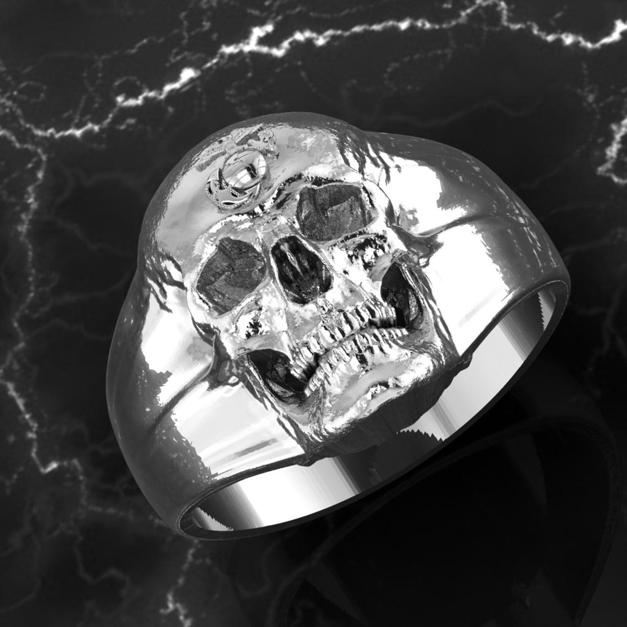 USMC Eagle Globe & Anchor Skull Ring in Solid Sterling Silver