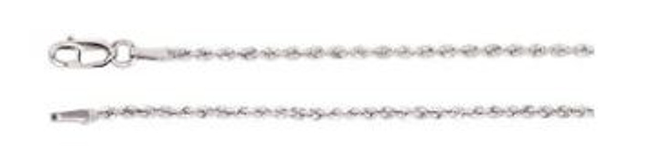 14K White Gold 1.5mm Rope Chain 20""