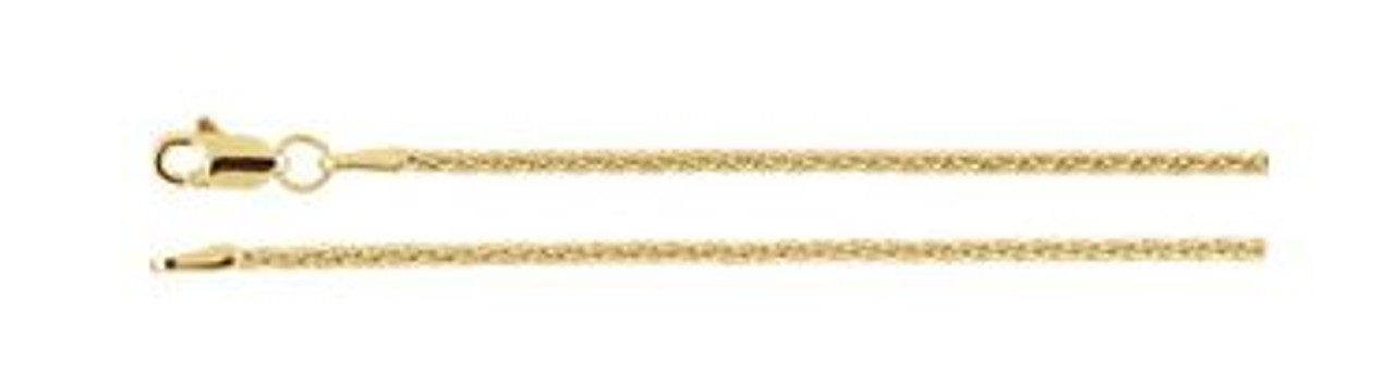 """14K Yellow 1.5mm Wheat 20"""" Chain"""