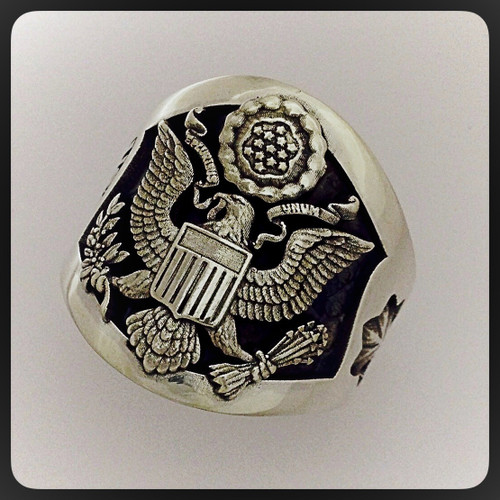 Beautiful United States Air Force Ring in Solid Sterling Silver, definitely makes a bold statement.  Orders your today, custom option available.