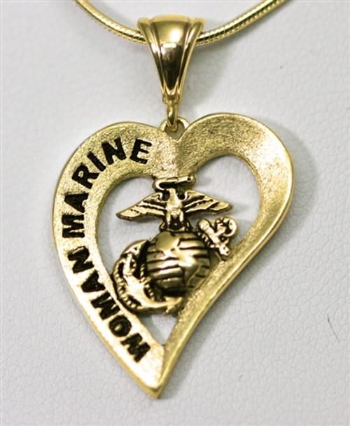 Woman Marine 10k Gold Heart Pendant