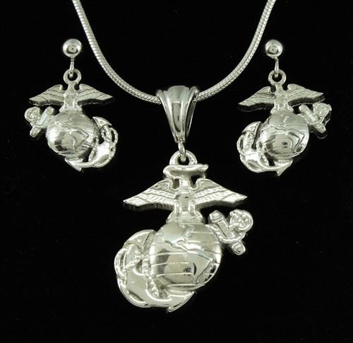 USMC Marine EGA Sterling Silver Pendant & Earrings
