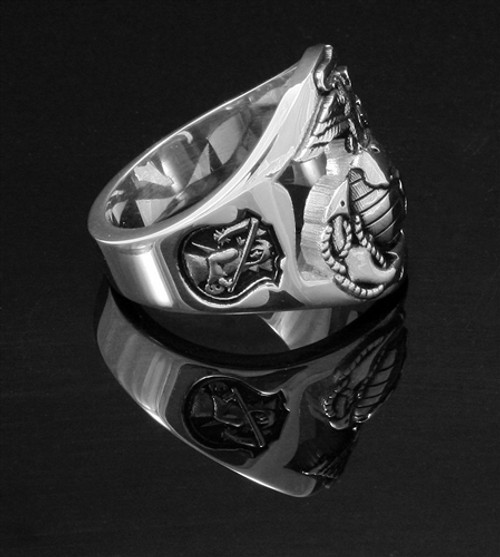 """USMC """"The Walking Dead"""" Solid Sterling Silver, this is one tough ring and every detail is outstanding and you'll wear it with pride."""