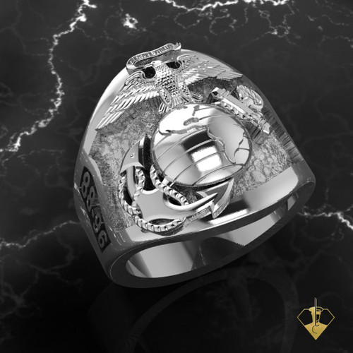 US Marine Corps Ring with Years of Service and Rank available in Sterling Silver, 10k, 14k and 18kWhite or Yellow gold. Made by Marines for Marines!   OPTION: Instead of YOS on the side you can have your Division or Unit logo on the side at no extra charge. 1st Mar Div, 2nd Mar Div or Air Wing etc.  100% Satisfaction Guaranteed