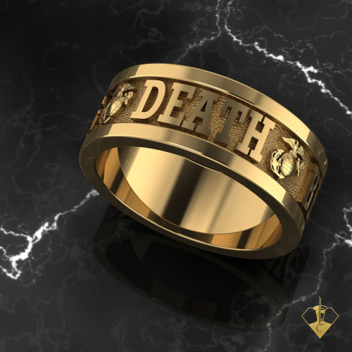 "Death Before Dishonor USMC Ring available in Sterling Silver, 10k, 14k and 18k White or Yellow gold. ""Made by Marines for Marines""  100% Satisfaction Guaranteed"