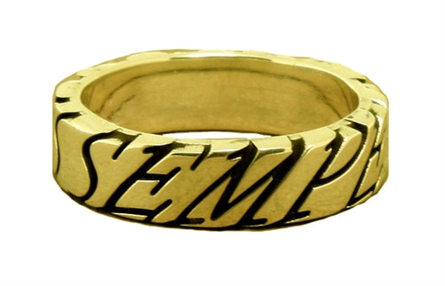 USMC Semper Fidelis 10K Gold Wedding Band