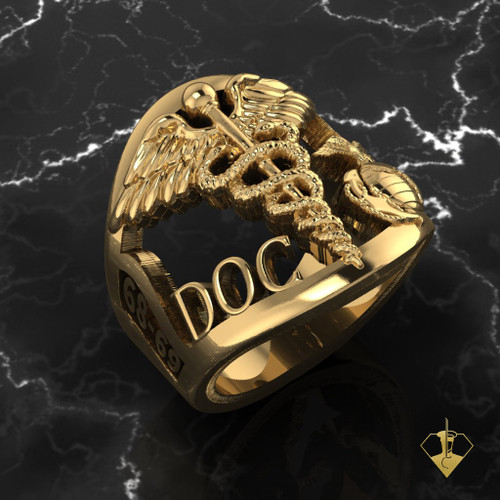Gold USMC USN Corpsman Ring