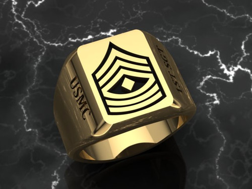 1st Sgt Signet Ring in Solid 14k Yellow Gold