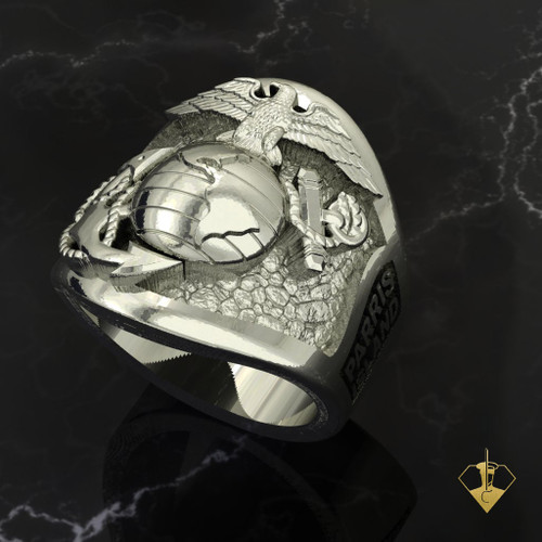 USMC Parris Island Graduation Ring Silver or White Gold