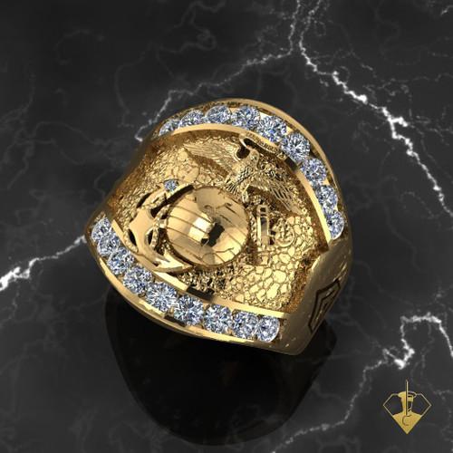 USMC Magnificent Marines Ring Moissanite gemstones