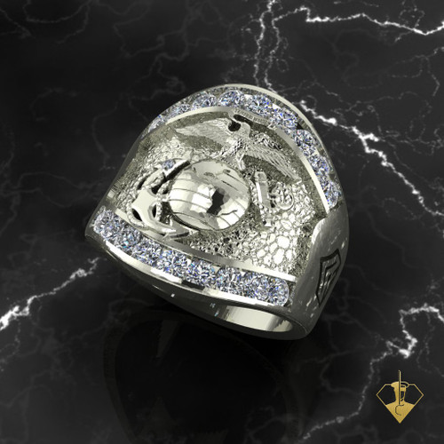 Silver or White Gold USMC Magnificent Marines Moissanite gemstone ring