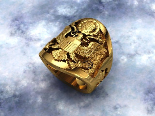 Men's Yellow Gold USAF Rank and Service Signet Ring