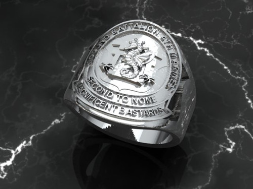 """2nd Battalion 4th Marines """"Magnificent Bastards""""  Solid Sterling Silver Ring"""