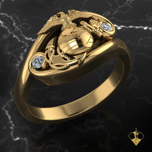 Gold EGA Woman Marines Ring with offset diamonds