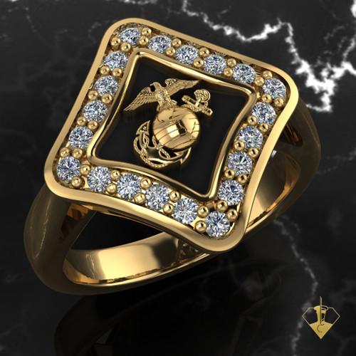 Diamond Woman Marines EGA Ring in Yellow Gold