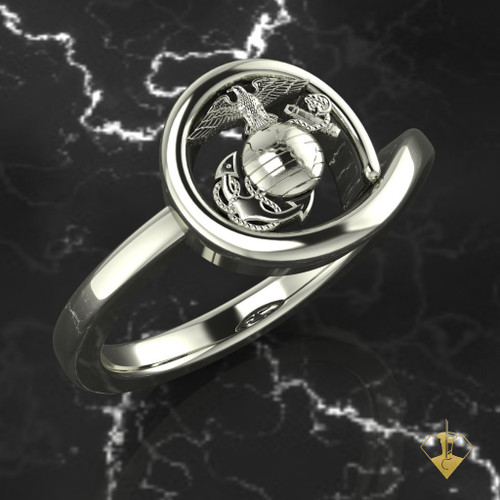 Eagle Globe & Anchor Ring surrounded by gold USMC Woman Marines 14k solid white gold