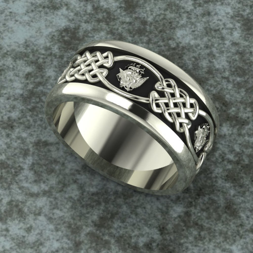 Navy Celtic White Gold Band