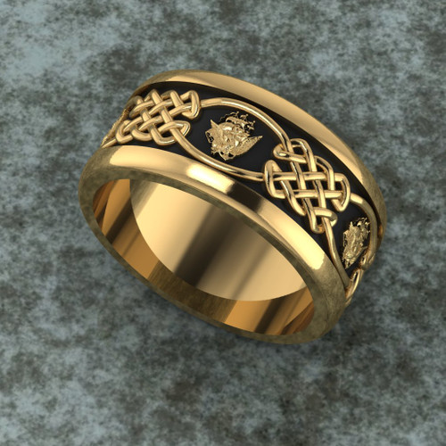 Navy Celtic Yellow Gold Band